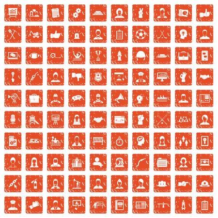 100 team work icons set grunge orange