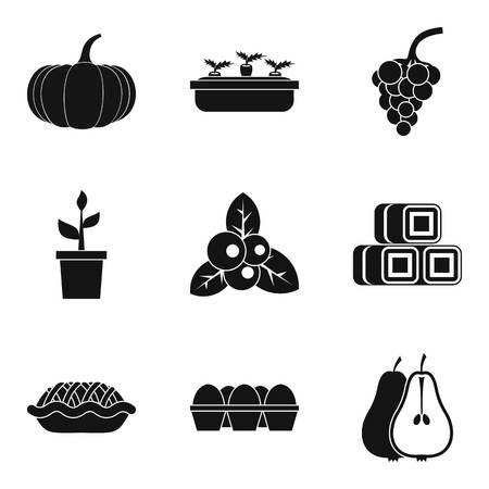 Yield icons set, like fruits and pie simple style