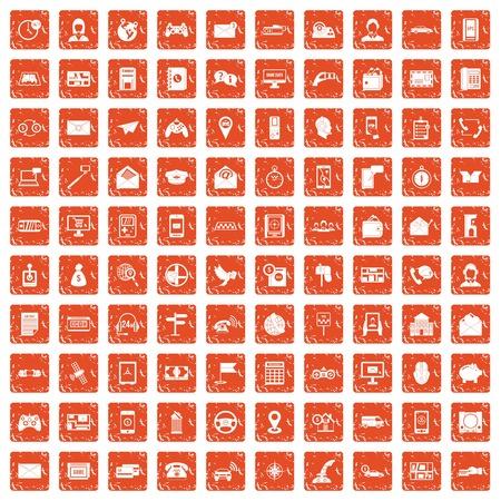 100 telephone icons set grunge orange