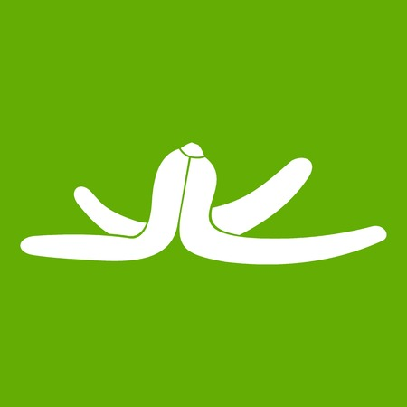 Banana skin icon on green background