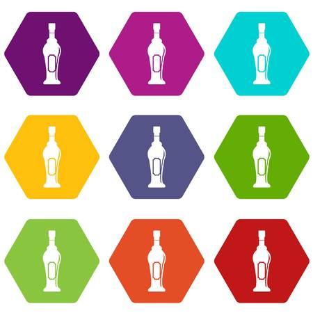 Alcohol bottle icon set color hexahedron