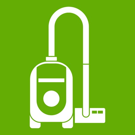 Vacuum cleaner icon white isolated on green background. Vector illustration