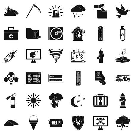 Back country icons set, simple style