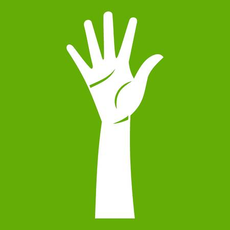 Hand icon white isolated on green background. Vector illustration Illustration