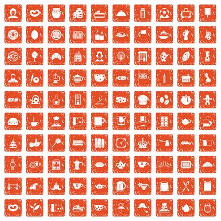 100 tea time food icons set grunge orange