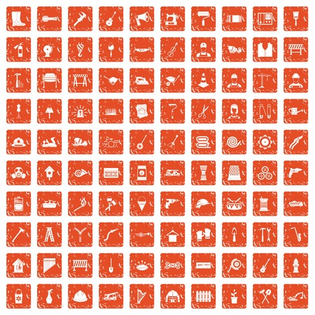 100 tools icons set in grunge style orange color isolated on white background vector illustration Иллюстрация