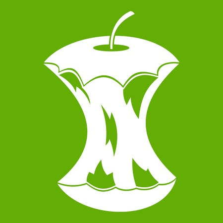 Apple core icon on green background