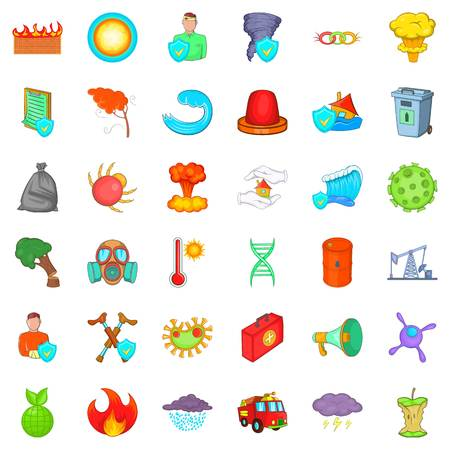 Quiet place icons set,like fire, man, and clouds with rain cartoon style Illustration