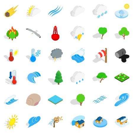 Calm place icons set like trees and waves, isometric style