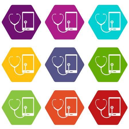 Phone diagnosis icon set color hexahedron