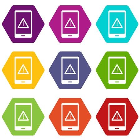 Not working phone icon set color hexahedron
