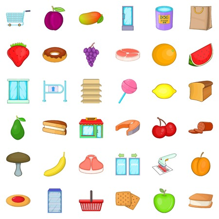 Nature meal icons set, cartoon style