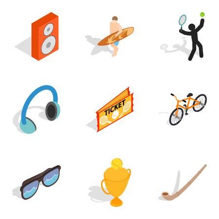 Entertainment program icons set, isometric style Illustration