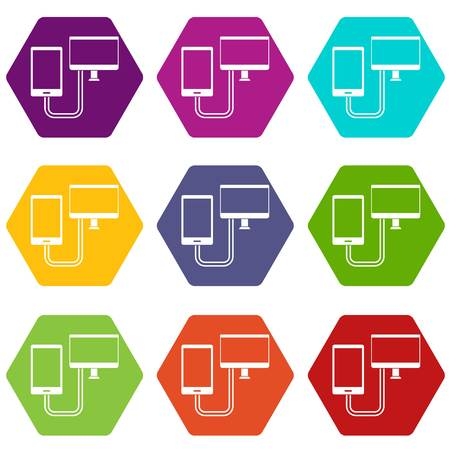 Connection phone icon set