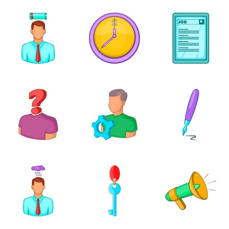 Recruitment icons set, cartoon style Illustration