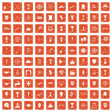 100 trophy and awards icons set grunge orange Illustration