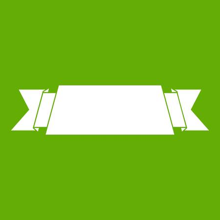 Ribbon banner icon on green background