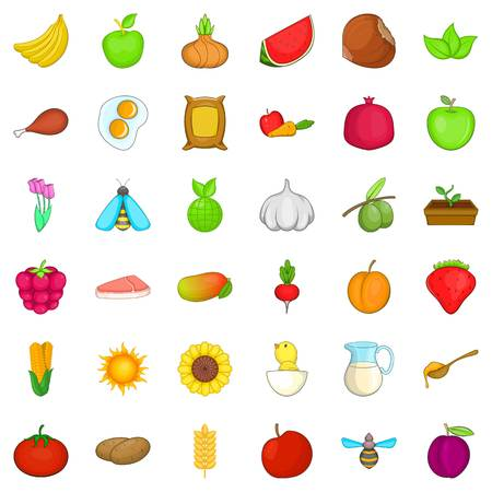 Comestible icons set, cartoon style