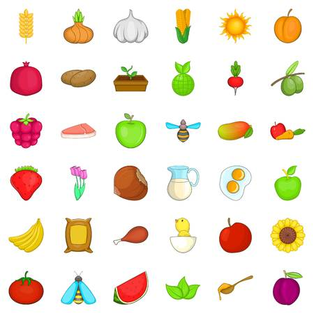 Natural ration icons set like fruits and vegetables, cartoon style