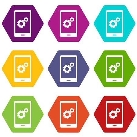 Working phone icon set color hexahedron 向量圖像