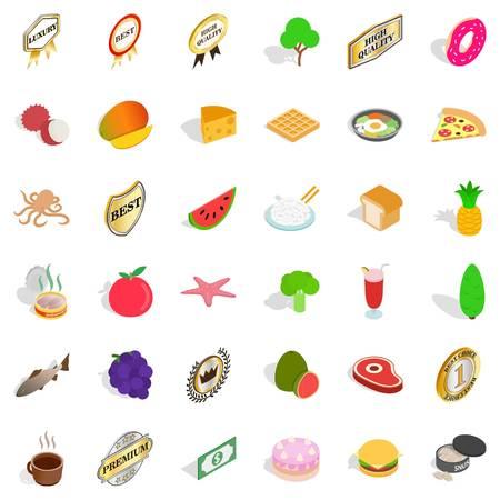 Eco diet icons set, isometric style