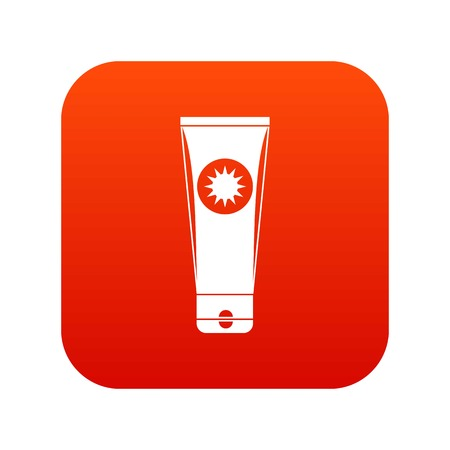 Sunscreen icon digital in  red Illustration