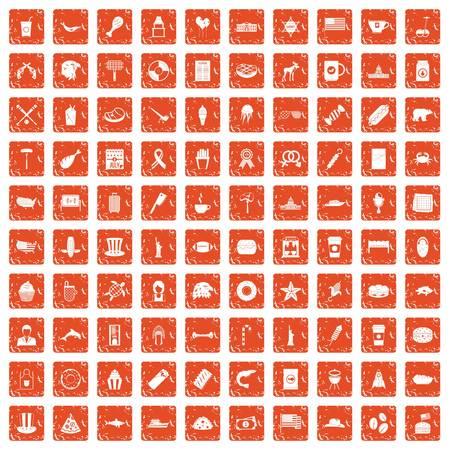 100 USA icons set grunge orange