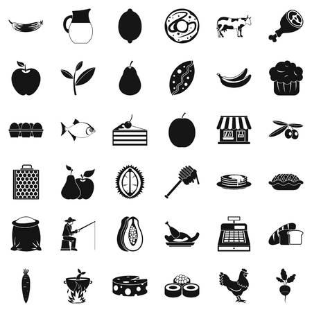 Livelihood icons set, simple style
