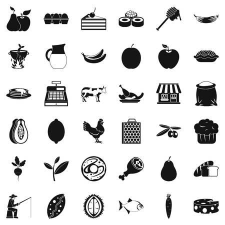 Green pabulum icons set, simple style Illustration