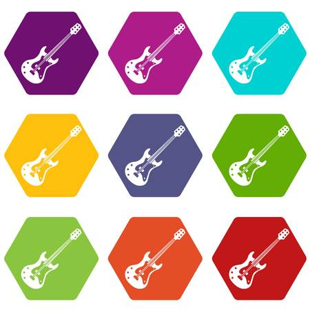 Classical electric guitar icon set