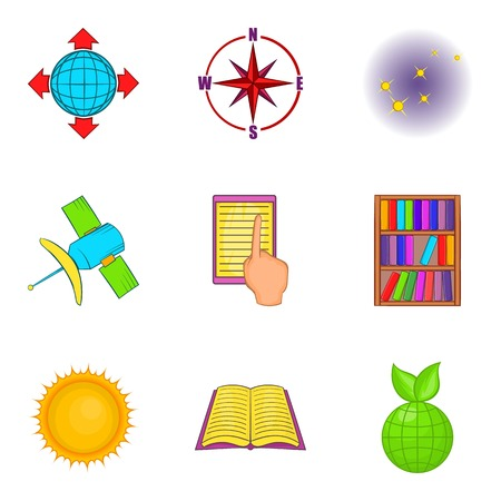 Research project icons set,like sun, books and compass cartoon style