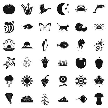 Eco nature icons set, simple style Illustration