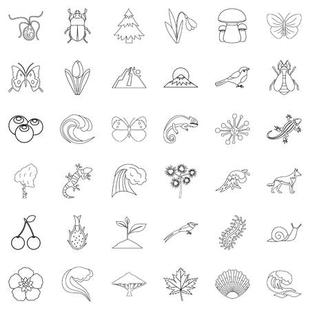 Life forest icons set, like trees and bugs outline style