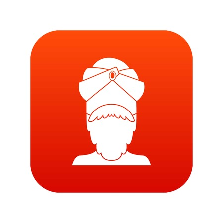 Indian man icon on red background