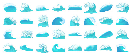 Wave icon set, cartoon style