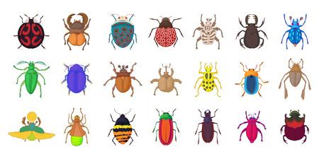 Bugs icon set, cartoon style Illustration