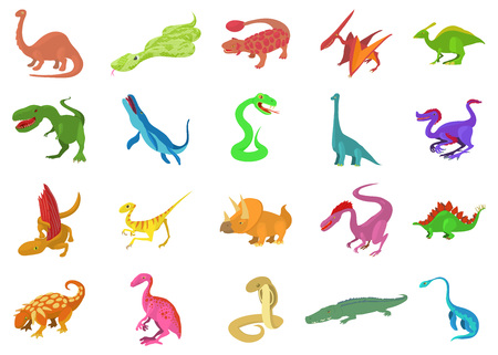 Reptile icon set, cartoon style
