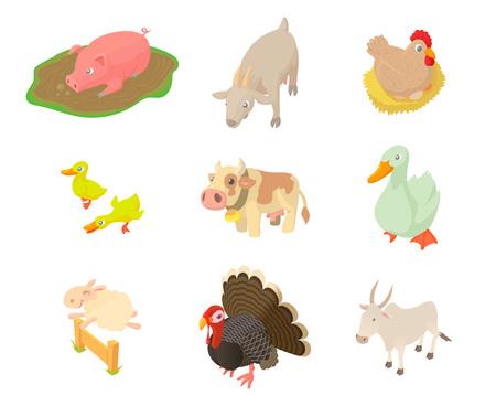 Domestic animals icon set, cartoon style