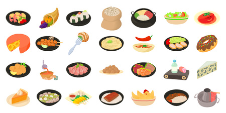 Food icon set, cartoon style Illustration