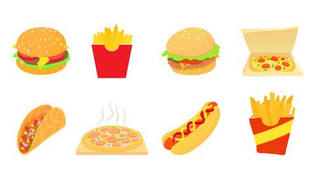 Fast food icon set, cartoon style