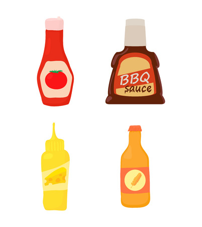 Sauce bottle icon set, cartoon style