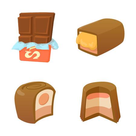 Chocolate icon set, cartoon style
