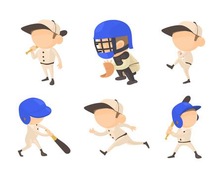 Baseball player icon set, cartoon style