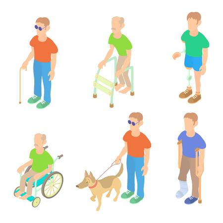 Sick people icon set, cartoon style