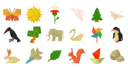 Origami icon set, cartoon style Ilustracja