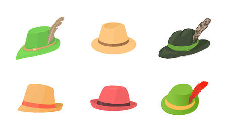 Panama hat icon set, cartoon style Illustration