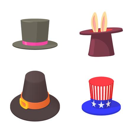 Top hat icon set, cartoon style