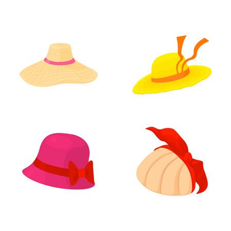 Woman hat icon set, cartoon style