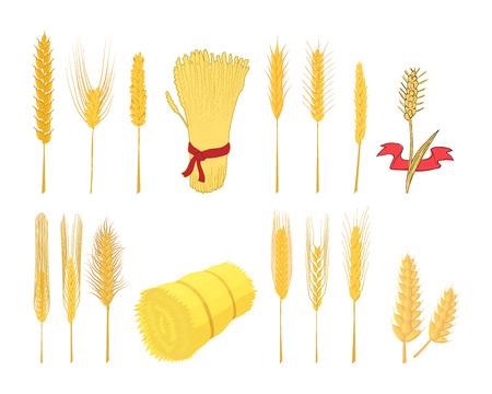 Wheat icon set, cartoon style Illustration