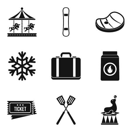 Family activity icons set